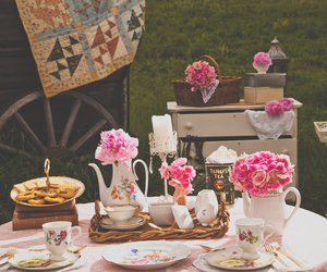 pink, pink flowers, and shabby chic image