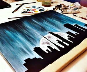 black, blue, and painting image