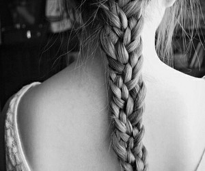 black and white, braid, and braided image