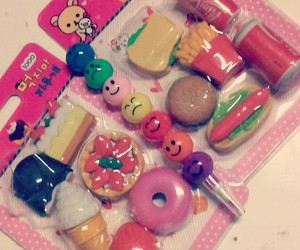 erasers, food, and pink image