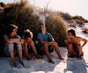 beach, friends, and smoke image