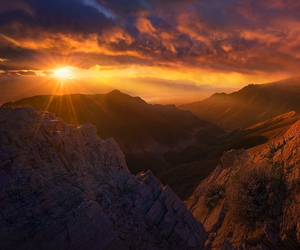 hill, montains, and sunset image