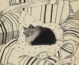 art, cat, and illustration image