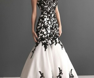 black and white, pretty, and dress image