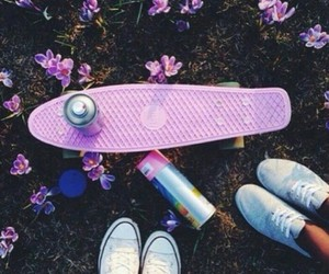 pink, penny board, and flowers image