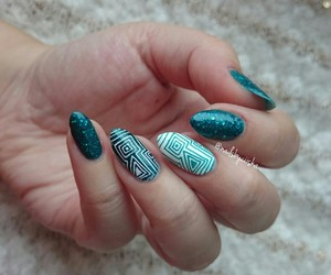 manicure, nails, and teal image