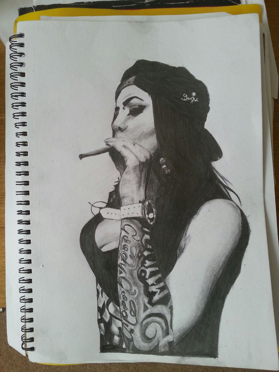Image of: Character Is This Your First Heart We Heart It Pencil Drawing Gangster Girl Shared By Drugdealergirl