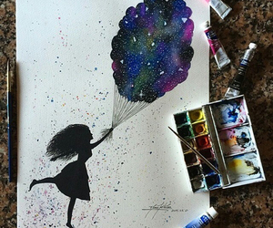 art, balloons, and galaxy image