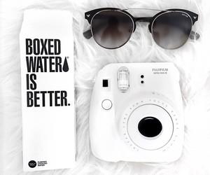white, sunglasses, and polaroid image