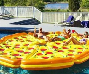 floaties, pizza, and pool image