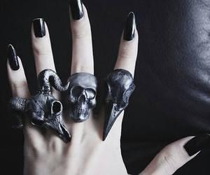 black, rings, and nails image