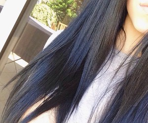 beautiful, black, and blue hair image