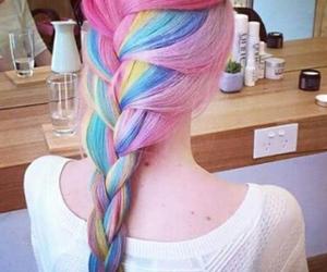 hair, rainbow, and pink image