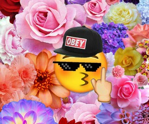 bitch, Collage, and flowers image