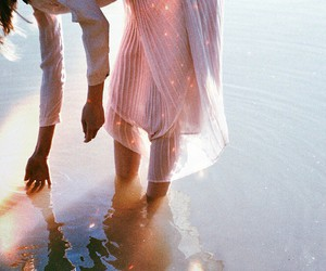 girl, pink, and water image