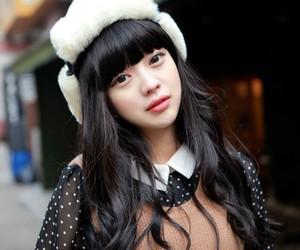 bangs, furry hat, and long hair image