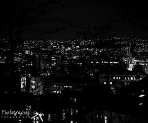 black and white, city, and dark image