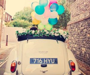 car, balloons, and vintage image