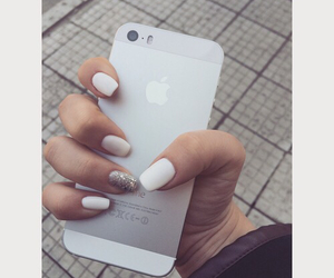 nails, white, and iphone 5s image