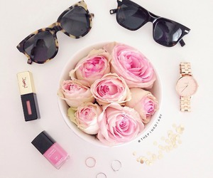 sunglasses, flowers, and rose image