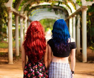 best friends, blue, and colorful image