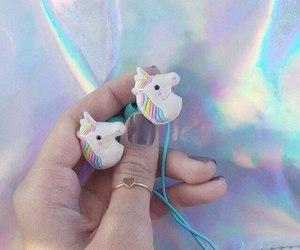 unicorn, rainbow, and headphones image