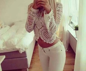 white, blonde, and jeans image