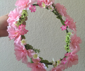 flower crown and pink image
