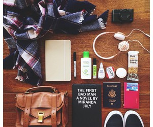 bag, travel, and book image