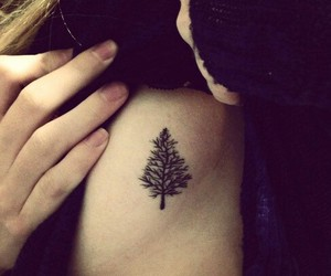 girls, tattoo, and tree image