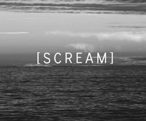 scream, sad, and black and white image