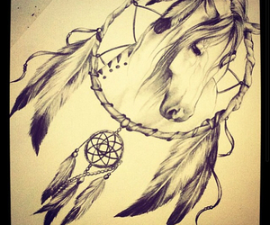 horse, dreamcatcher, and tattoo image