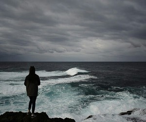 dark, lonely, and sea image