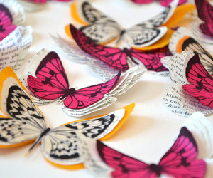 black, pink, and butterflies image