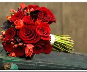 boquet, red roses, and wedding image