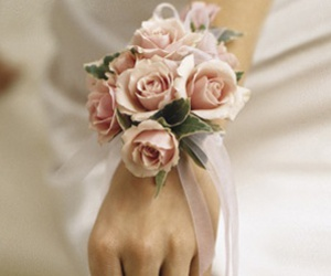 bride, pink, and corsage image
