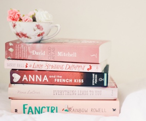 books, pink, and flowers image