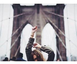 girl, bridge, and hipster image