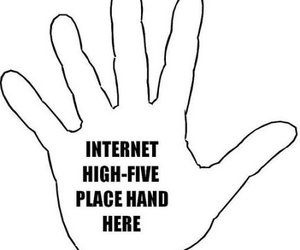 internet, hand, and high five image