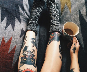 tattoo, girl, and coffee image