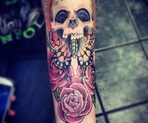 tattoo, skull, and butterfly image