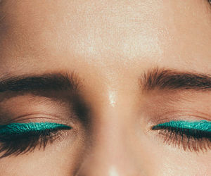 eye liner, makeup, and teal image
