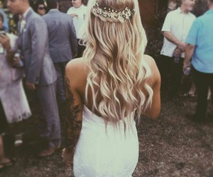 hair, dress, and wedding image