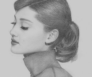 ariana grande, drawing, and black and white image