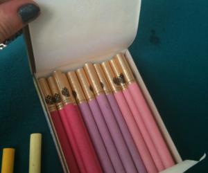 cigarette, pink, and smoke image
