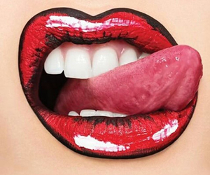 lips, comic, and girl image