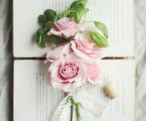 books, rose, and vintage image
