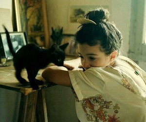 black cat, hair, and home image