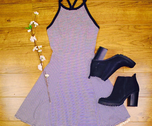 boots, clothing, and striped dress image