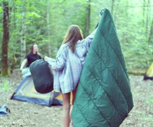 girl, camping, and friends image